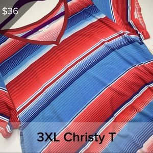 3XL Christy - red white and blue stripe